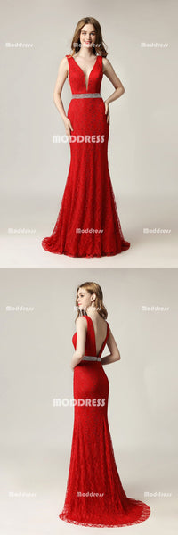 Red Lace Long Prom Dresses V-Neck Mermaid Evening Dresses Backless Formal Dresses