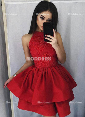 Red Lace Short Homecoming Dresses Knee Length Prom Dresses Sleeveless Evening Formal Dresses,HS829