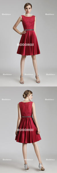 Red Lace Short Homecoming Dresses Satin A-Line Short Evening Formal Dresses
