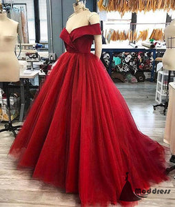 Red Long Prom Dress Off the Shoulder Tulle A-Line Evening Dress,HS399