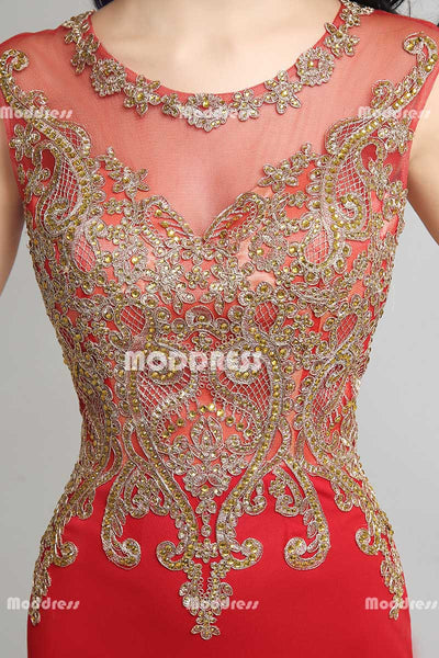 Red Mermaid Long Prom Dresses Applique Beaded Evening Dresses Sleeveless Formal Dresses