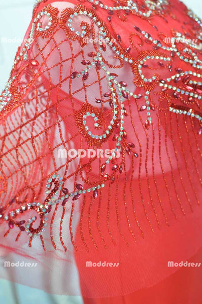 Red Mermaid Long Prom Dresses Beaded Evening Dresses Half Sleeve Formal Dresses