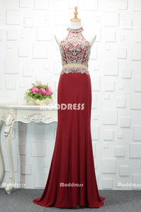 Red Mermaid Long Prom Dresses Beaded Evening Dresses High Neck Formal Dresses,ZD0001