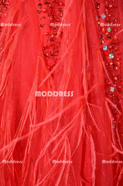 Red Mermaid Long Prom Dresses Beaded Evening Dresses Sleeveless Formal Dresses