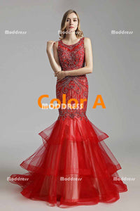 Red Mermaid Long Prom Dresses Beaded Evening Dresses Sleeveless Formal Dresses,LX492