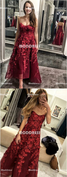 Red Strapless Long Prom Dresses Floral Applique Evening Dresses A-Line Formal Dresses