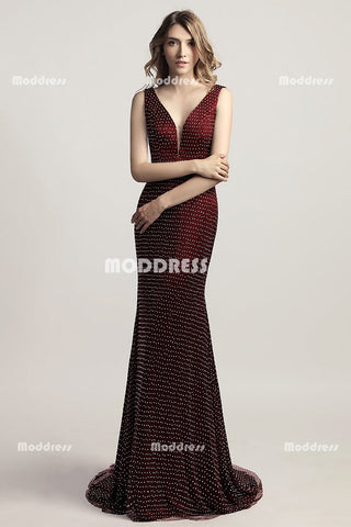 Red V-Neck Long Prom Dresses Mermaid Evening Dresses Beaded Backless Formal Dresses