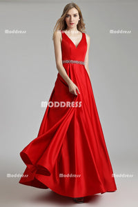 Red V-Neck Long Prom Dresses Satin A-Line Evening Dresses Sleeveless Formal Dresses