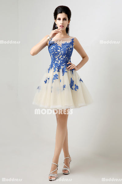 Royal Blue Applique Short Homecoming Dresses Tulle A-Line Evening Dresses Sleeveless Formal Dresses