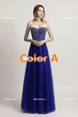 Royal Blue Beaded Long Prom Dresses Strapless Evening Dresses Tulle A-Line Formal Dresses
