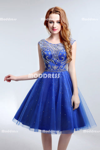 Royal Blue Beaded Short Homecoming Dresses Backless Short Prom Dresses Tulle A-Line Short Evening Formal Dresses