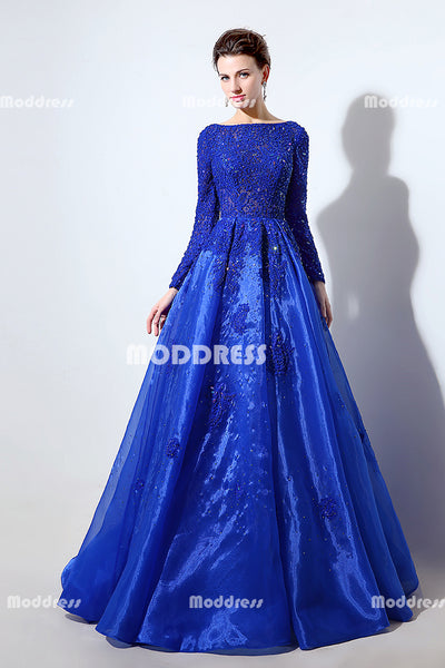 Royal Blue Lace Long Prom Dresses Beaded Evening Dresses A-Line Long Sleeve Formal Dresses