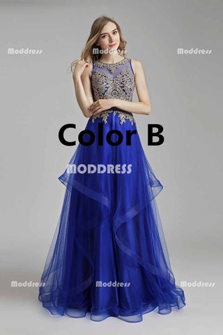 Royal Blue Long Prom Dresses Applique Beaded Evening Dresses A-Line Sleeveless Formal Dresses