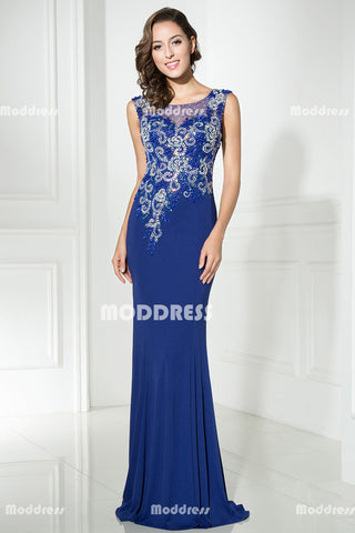 Royal Blue Long Prom Dresses Applique Beaded Evening Dresses Mermaid Sleeveless Formal Dresses
