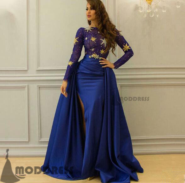 fe85ef90afa7 Royal Blue Long Prom Dresses Long Sleeve Evening Dresses Formal Dresses  with High Slit,HS641 ...