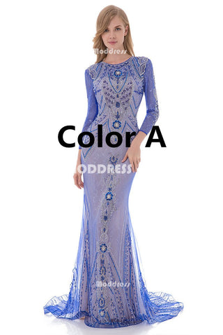Royal Blue Mermaid Long Prom Dresses Beaded Evening Dresses Three Quarters Sleeve Formal Dresses