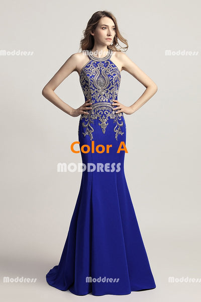 Royal Blue Red Mermaid Long prom Dresses Applique Beaded Evening Dresses Sleeveless Formal Dresses