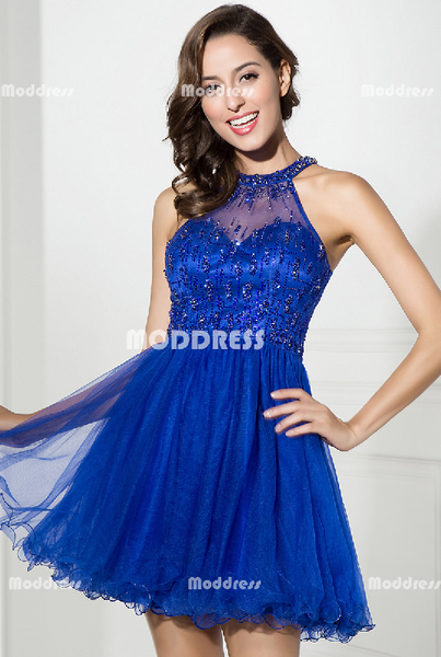 Royal Blue Short Homecoming Dresses Beaded Short Homecoming Dresses Tulle A-Line Short Homecoming Dresses
