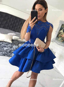 Royal Blue Short Homecoming Dresses Lace Prom Dresses Long Sleeve Knee Length Evening Formal Dresses,HS830
