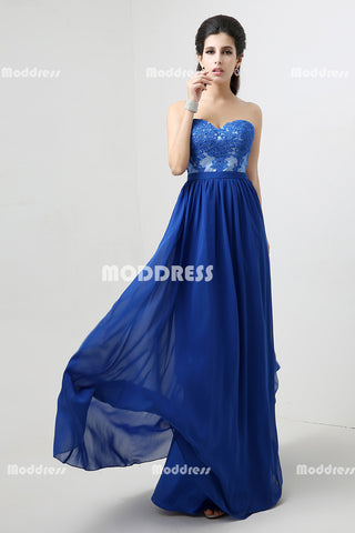 Royal Blue Strapless Long Prom Dresses Applique Long Bridesmaid Dresses Chiffon A-Line Formal Dresses