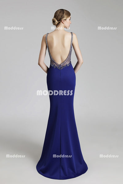V-Neck Long Prom Dresses Mermaid Evening Dresses Beaded Backless Formal Dresses