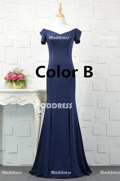 Royal Blue V-Neck Long Prom Dresses Mermaid Evening Dresses Off the Shoulder Formal Dresses