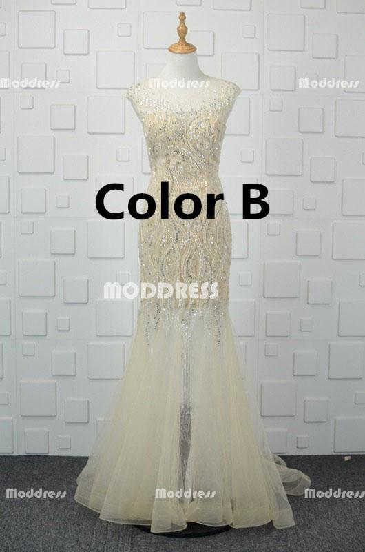 See Through Beaded Long Prom Dresses Mermaid Evening Dresses Sleeveless Formal Dresses