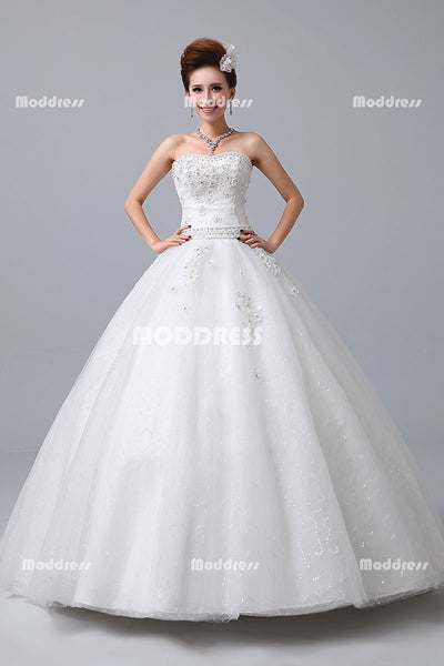 Sequins Lace Wedding Dresses Applique Beaded Ball Gowns Tulle Gowns