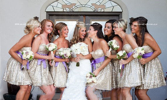 Sequins Short Bridesmaid Dresses Sweetheart Bridesmaid Dresses Knee Length Prom Dresses,HS882