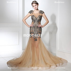 Sexy Applique Beaded Long Prom Dresses Mermaid See Through Evening Dresses Cap Sleeve Formal Dresses