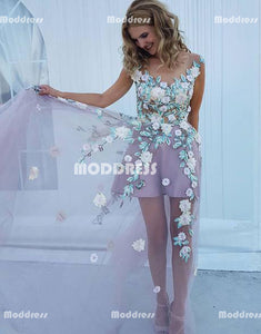 Sexy Applique Long Prom Dresses See Through Evening Dresses A-Line Formal Dresses