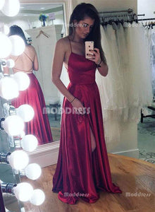 Sexy Backless Long Prom Dresses Satin Evening Formal Dresses with High Slit,HS803