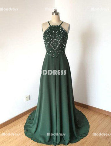 Sexy Beaded Long Prom Dresses Green Chiffon Evening Dresses Spaghetti Straps Backless A-Line Formal Dresses