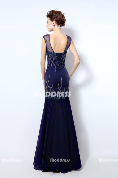 Sexy Beaded Long Prom Dresses V-Neck Mermaid Evening Dresses Sleeveless Formal Dresses