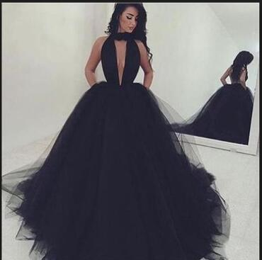 Sexy Deep V-Neck Long Prom Dresses Backless Evening Dresses Tulle Ball Gowns Formal Dresses