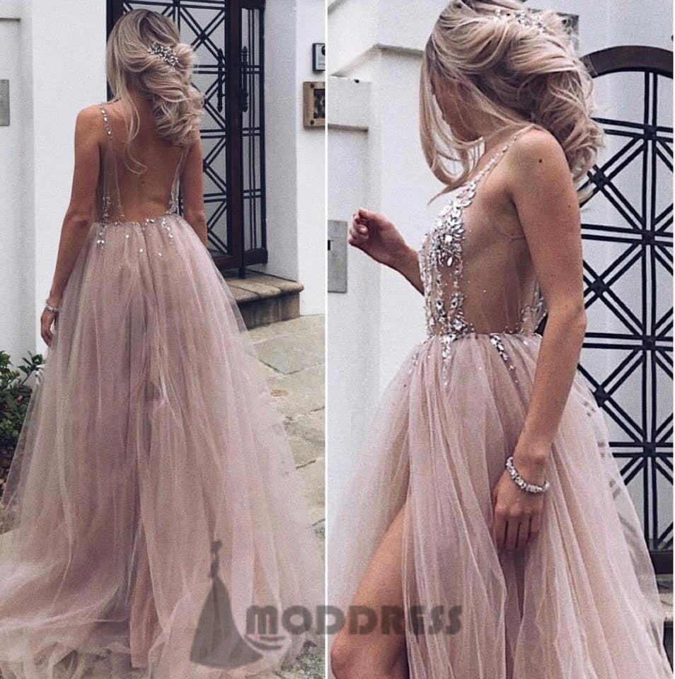 b39c2f1a795 Sexy Deep V-Neck Long Prom Dresses Backless Sequins Beading Evening Dresses  Tulle Formal Dresses ...