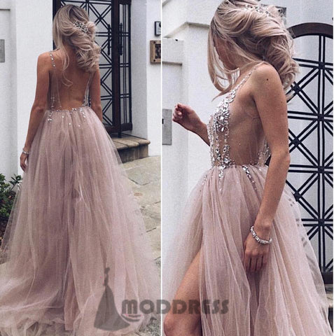 Sexy Deep V-Neck Long Prom Dresses Backless Sequins Beading Evening Dresses Tulle Formal Dresses with High Slit,HS662