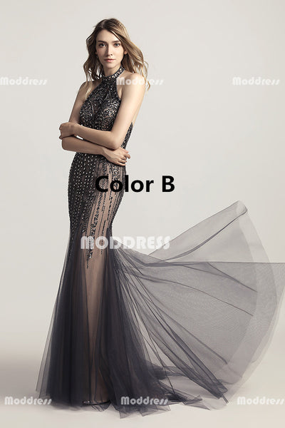 Sexy Halter Mermaid Long Prom Dresses Beaded Evening Dresses Backless Formal Dresses