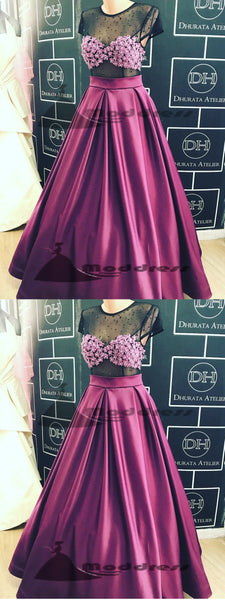 Sexy Long Prom Dresses Scoop Black Fuchsia A-line Satin See Through Evening Dress,HS327