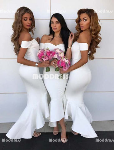 Sexy Mermaid Long Bridesmaid Dresses Off the Shoulder Bridesmaid Dresses White Bridesmaid Dresses