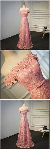 Sexy Off Shoulder Peach Lace Long Evening Prom Dresses, Popular 2018 Party custom long formalProm Dresses,HS149