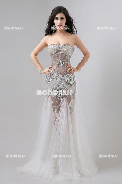 Sexy See Through Long Prom Dresses Beaded Evening Dresses Mermaid Formal Dresses
