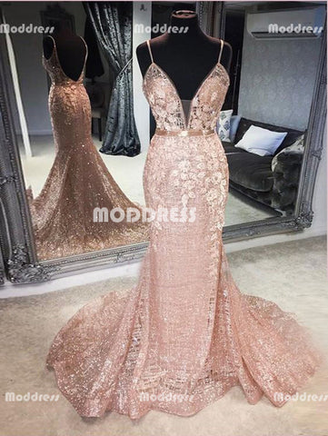 Sexy Sequins Applique Long Prom Dresses V-Neck Mermaid Evening Dresses Spaghetti Straps Formal Dresses