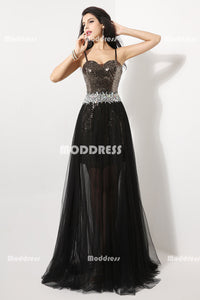 Sexy Sequins Beaded Long Prom Dresses Spaghetti Straps  Evening Dresses Tulle A-Line Formal Dresses