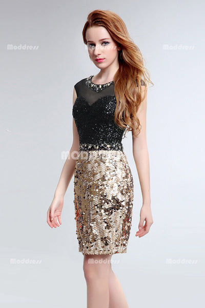 Sexy Sequins Homecoming Dresses Beading Knee Length Short Prom Dresses Formal Dresses
