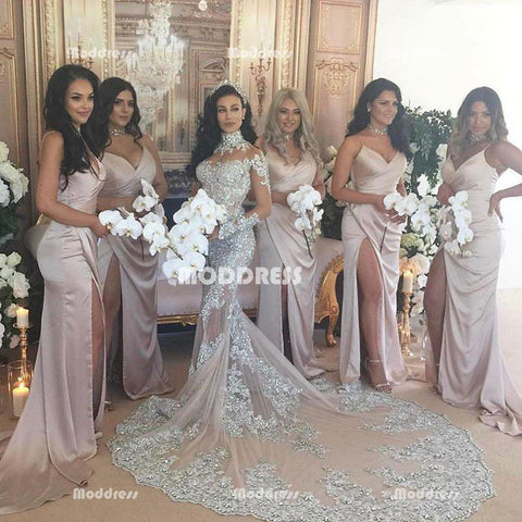 Sexy V-Neck Long Bridesmaid Dresses Simple Long Prom Dresses with High Slit,HS858