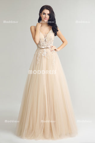 Sexy V-Neck Long Prom Dresses Applique Beading Evening Dresses A-Line Tulle Formal Dresses,LX242