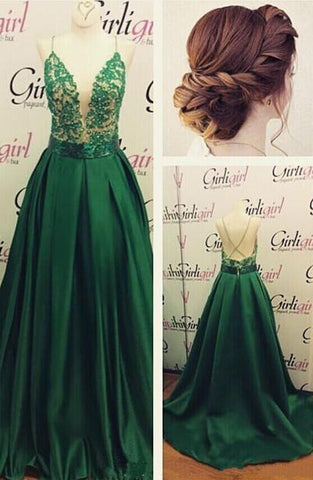 Sexy V-Neck Long Prom Dresses Beading Evening Dresses Backless Satin A-Line Formal Dresses,HS844