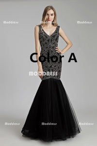 Sexy V-Neck Long Prom Dresses Mermaid Evening Dresses Backless Sleeveless Formal Dresses