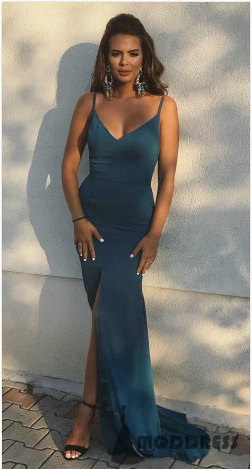 Sexy V-Neck Long Prom Dresses Mermaid Evening Dresses Formal Dress with High Slit